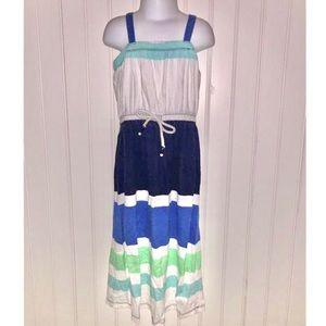 Blue White Stripe Sleeveless Long Maxi Dress XS 5